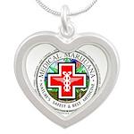 Medical Marijuana Silver Heart Necklace