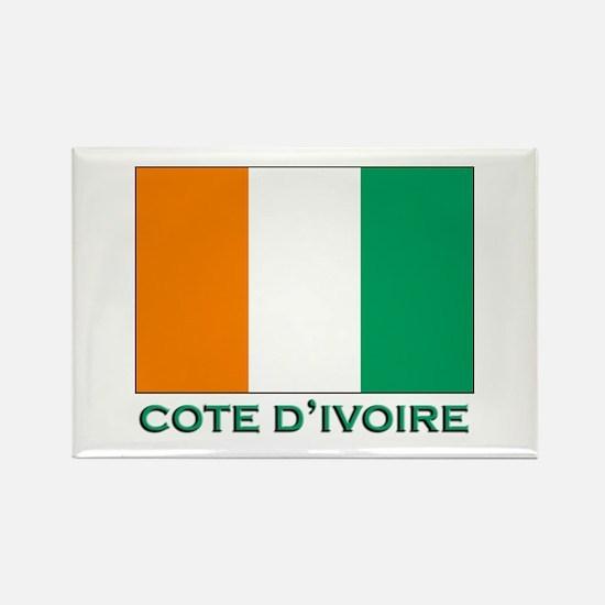 Cote D'Ivoire Flag Gear Rectangle Magnet