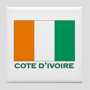 Cote D'Ivoire Flag Gear Tile Coaster