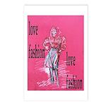 Fashion model design Postcards (Package of 8)