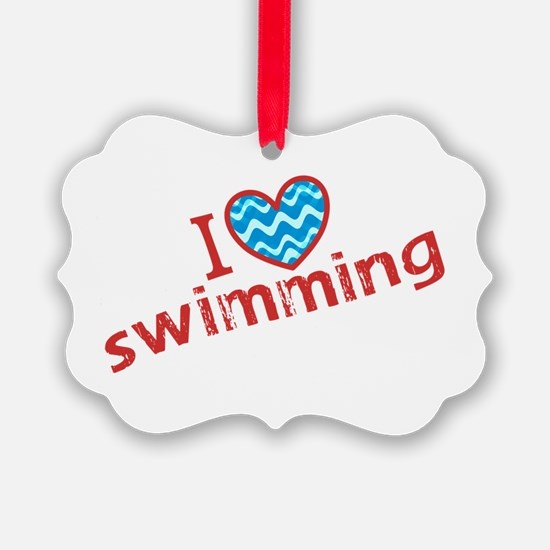 I heart (love) Swimming Ornament