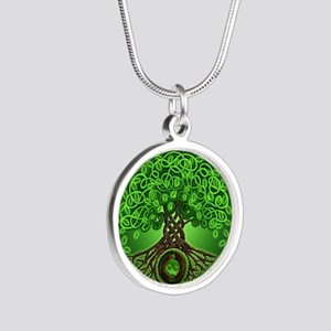Circle Celtic Tree of Life Silver Round Necklace