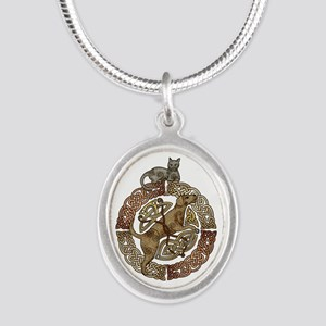 Celtic Cat and Dog Silver Oval Necklace