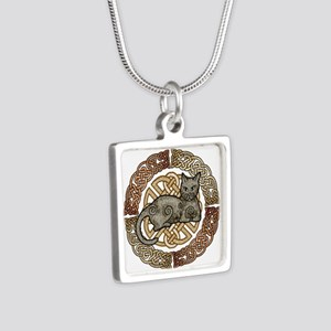 Celtic Cat Silver Square Necklace