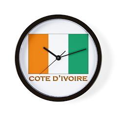 Cote D'Ivoire Flag Merchandise Wall Clock
