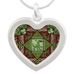 Celtic Dragon Labyrinth Silver Heart Necklace