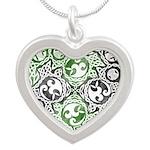 Celtic Knotwork Puzzle Square Silver Heart Necklac