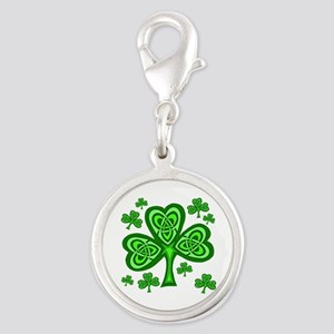 Celtic Shamrocks Silver Round Charm