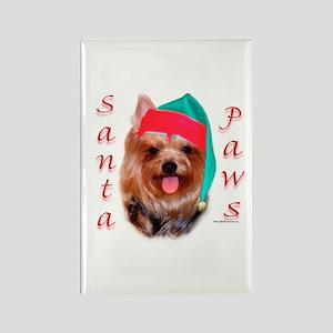 Santa Paws Yorkie Rectangle Magnet