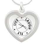 Live Laugh Fly Silver Heart Necklace