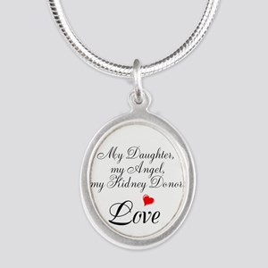 My Daughter,my Angel Silver Oval Necklace