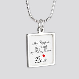 My Daughter,my Angel Silver Square Necklace