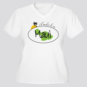Rather Be In Maui Women's Plus Size V-Neck T-Shirt