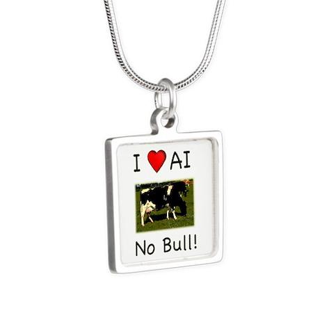 I Love AI No Bull Silver Square Necklace