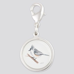 Tufted Titmouse Drawing Silver Round Charm