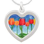 Tulip Trees Watercolor Silver Heart Necklace