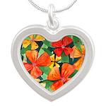 Tropical Flowers Splash Silver Heart Necklace