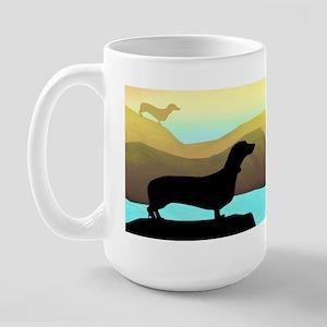 dachshunds by the sea Large Mug