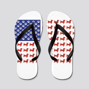 Patriotic Dachshund/USA Flip Flops