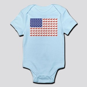 Patriotic Dachshund/USA Infant Bodysuit