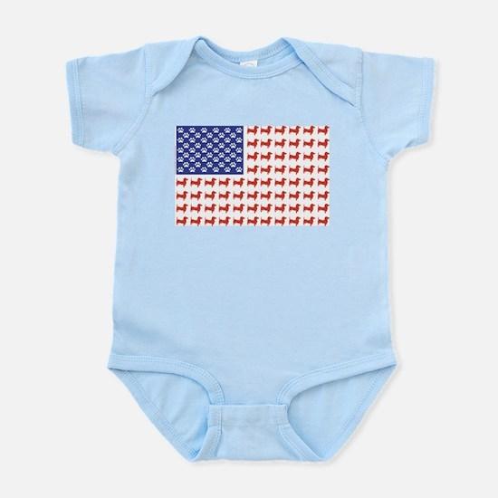 Patriotic Dachshund/USA Infant Bodysuit