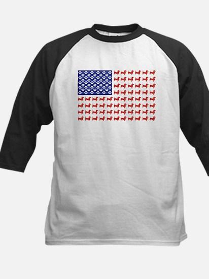 Patriotic Dachshund/USA Kids Baseball Jersey