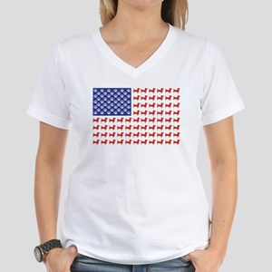 Patriotic Dachshund/USA Women's V-Neck T-Shirt