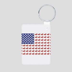 Patriotic Dachshund/USA Aluminum Photo Keychain