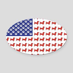 Patriotic Dachshund/USA Oval Car Magnet