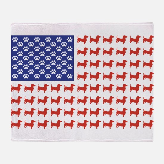Patriotic Dachshund/USA Throw Blanket