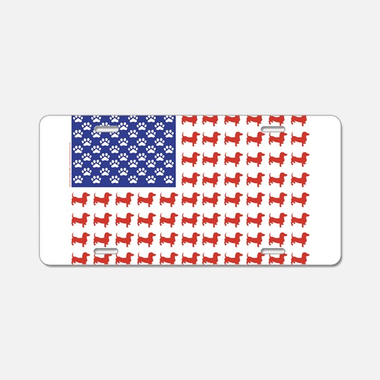 Patriotic Dachshund/USA Aluminum License Plate