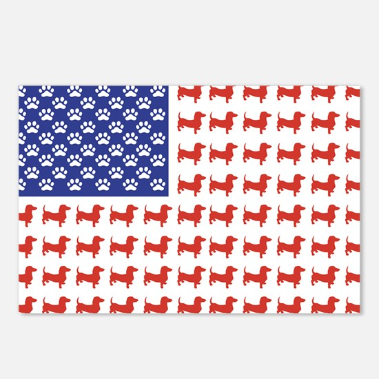 Patriotic Dachshund/USA Postcards (Package of 8)