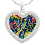 Leaves on Water Watercolor Silver Heart Necklace