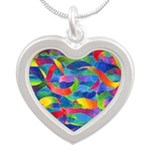 Cosmic Ribbons Silver Heart Necklace