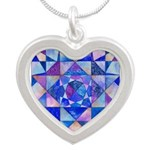 Blue Quilt Watercolor Silver Heart Necklace
