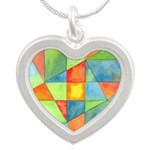 Color Square Abstract One Silver Heart Necklace