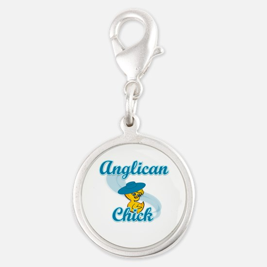 Anglican Chick #3 Silver Round Charm