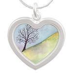 California Lone Tree Watercolor Silver Heart Neckl