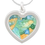 Early Frost Watercolor Silver Heart Necklace