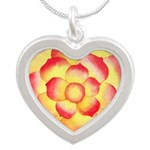 Flame Tip Flower Watercolor Silver Heart Necklace