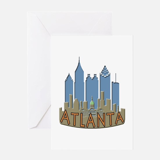 Atlanta Skyline Newwave Beachy Greeting Card