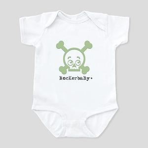 RocKerbaBy Green skull Infant Bodysuit