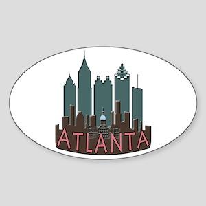 Atlanta Skyline Newwave Chocolate Sticker (Oval)