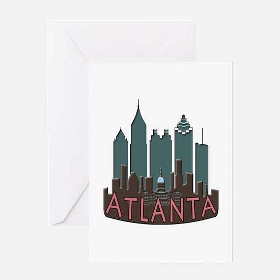 Atlanta Skyline Newwave Chocolate Greeting Card
