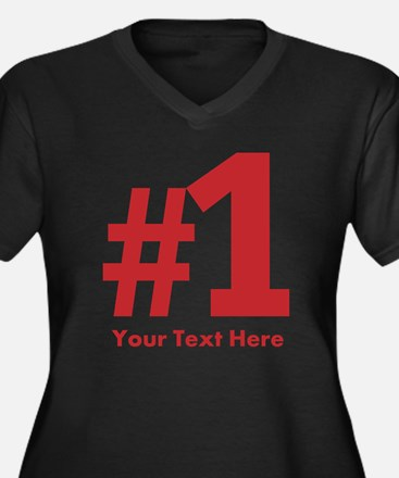 number one Women's Plus Size V-Neck Dark T-Shirt