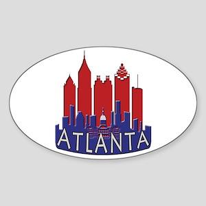 Atlanta Skyline Newwave Patriot Sticker (Oval)