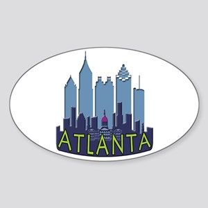Atlanta Skyline Newwave Cool Sticker (Oval)