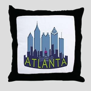 Atlanta Skyline Newwave Cool Throw Pillow