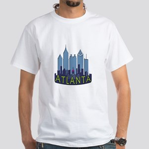 Atlanta Skyline Newwave Cool White T-Shirt