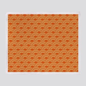 Orange Waves Throw Blanket